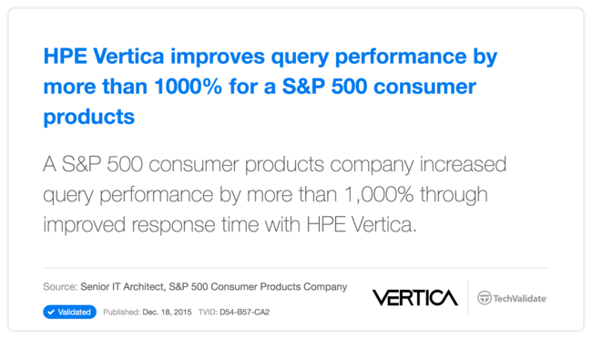 HP Vertica improves query performance by more than 1000% for a S&P 500 consumer products company