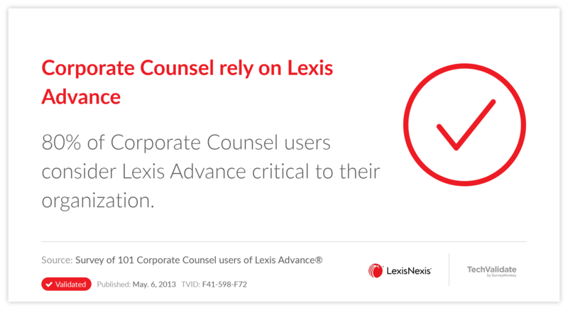 Corporate Counsel rely on Lexis Advance