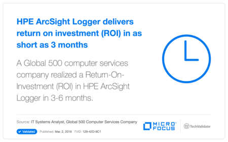 HP ArcSight Logger delivers return on investment (ROI) in as short as 3 months