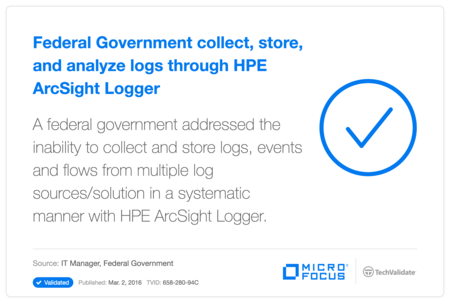 Federal Government  collect, store, and analyze logs through HP ArcSight Logger