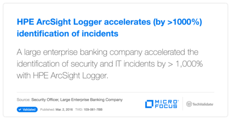 HP ArcSight Logger accelerates (by >1000%) identification of incidents