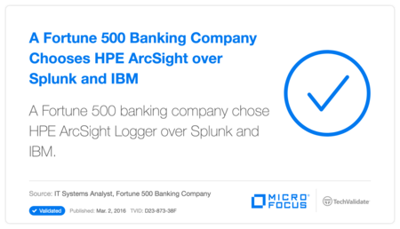A Fortune 500 Banking Company Chooses HP ArcSight over Splunk and IBM