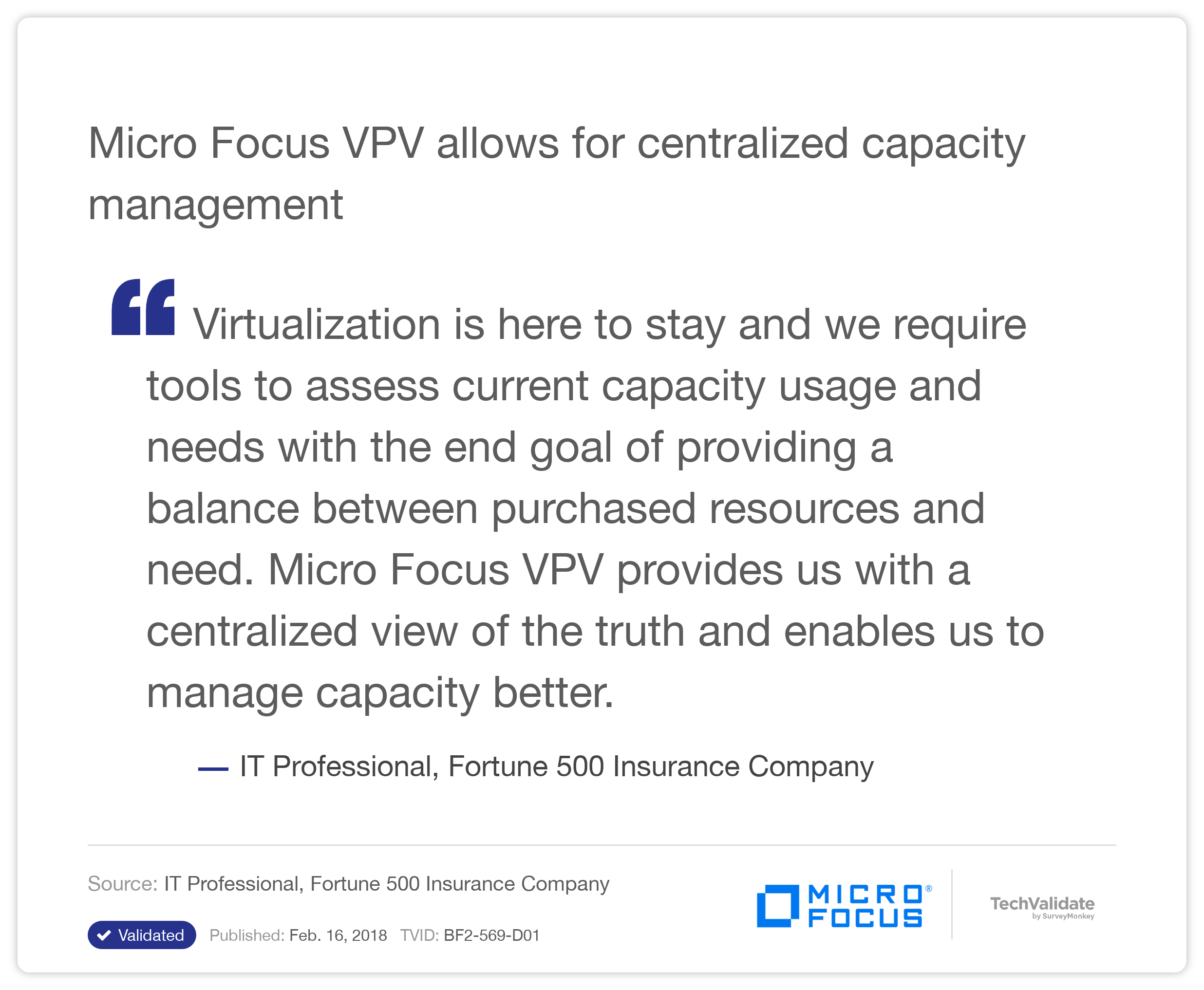 HP VPV allows for centralized capacity management
