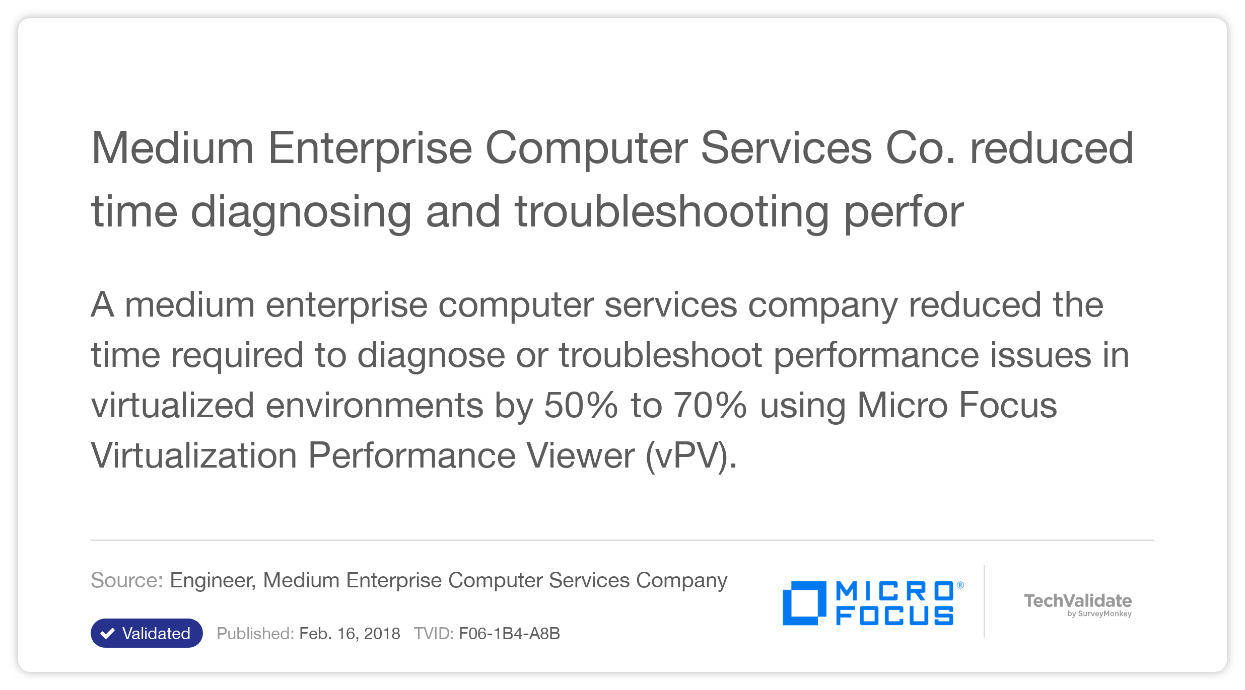 Medium Enterprise Computer Services Co. reduced time diagnosing and troubleshooting performance problems with HP vPV