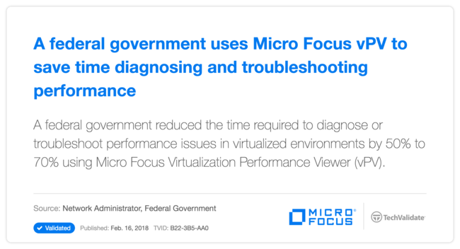 A federal government uses HP vPV to save time diagnosing and troubleshooting performance issues