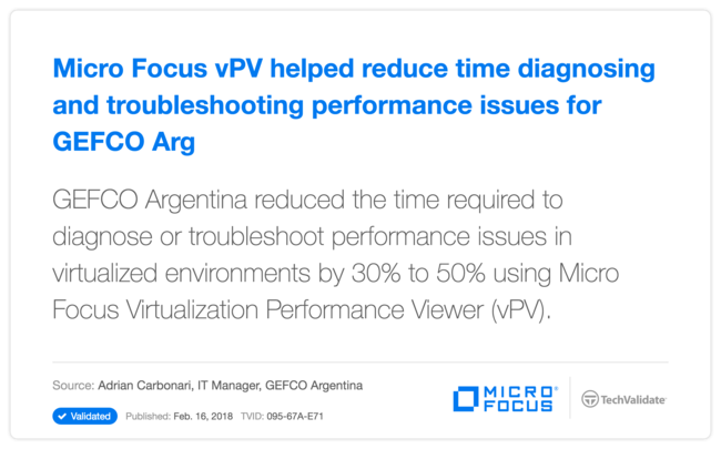 HP vPV helped reduce time diagnosing and troubleshooting performance issues for GEFCO Argentina SA