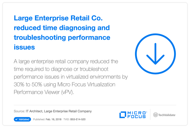 Large Enterprise Retail Co. reduced time diagnosing and troubleshooting performance issues with HP vPV