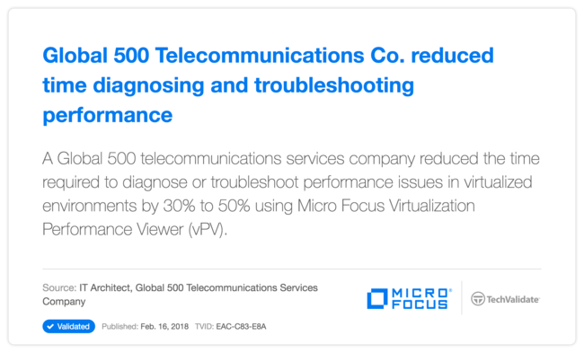 Global 500 Telecommunications Co. reduced time diagnosing and troubleshooting performance issues