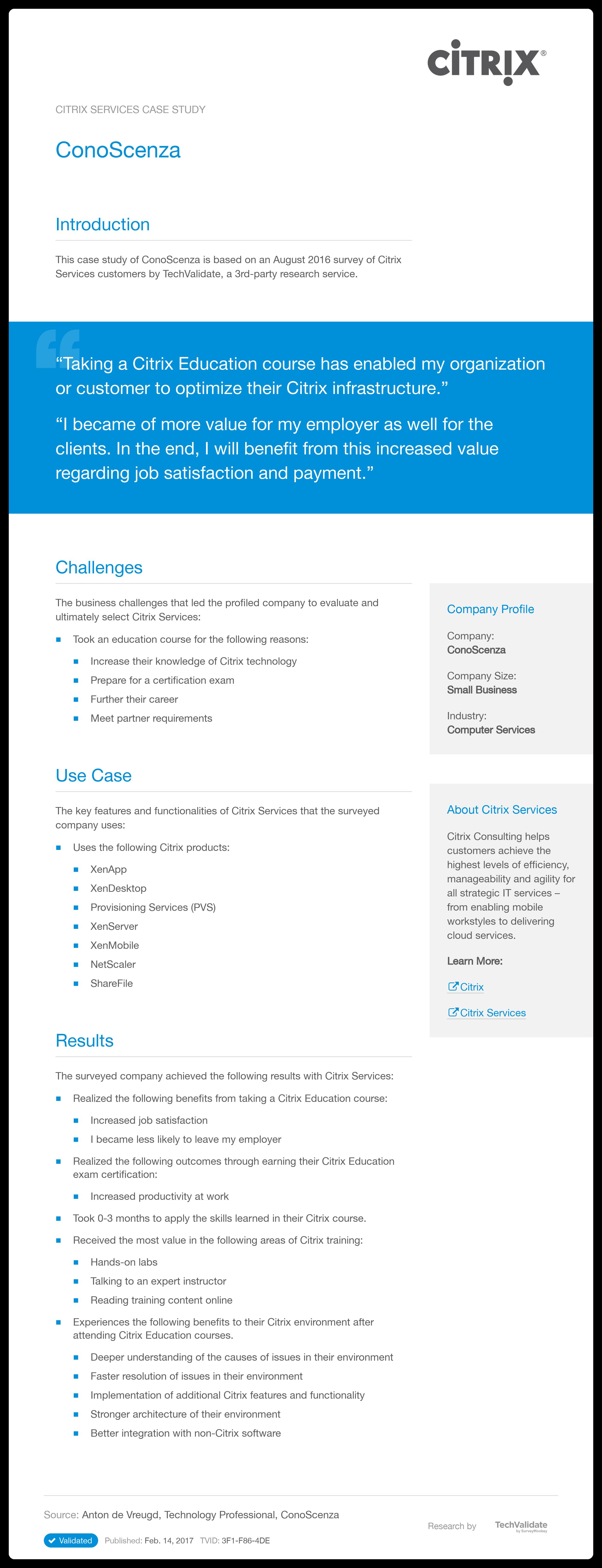 Citrix Services Conoscenza Techvalidate