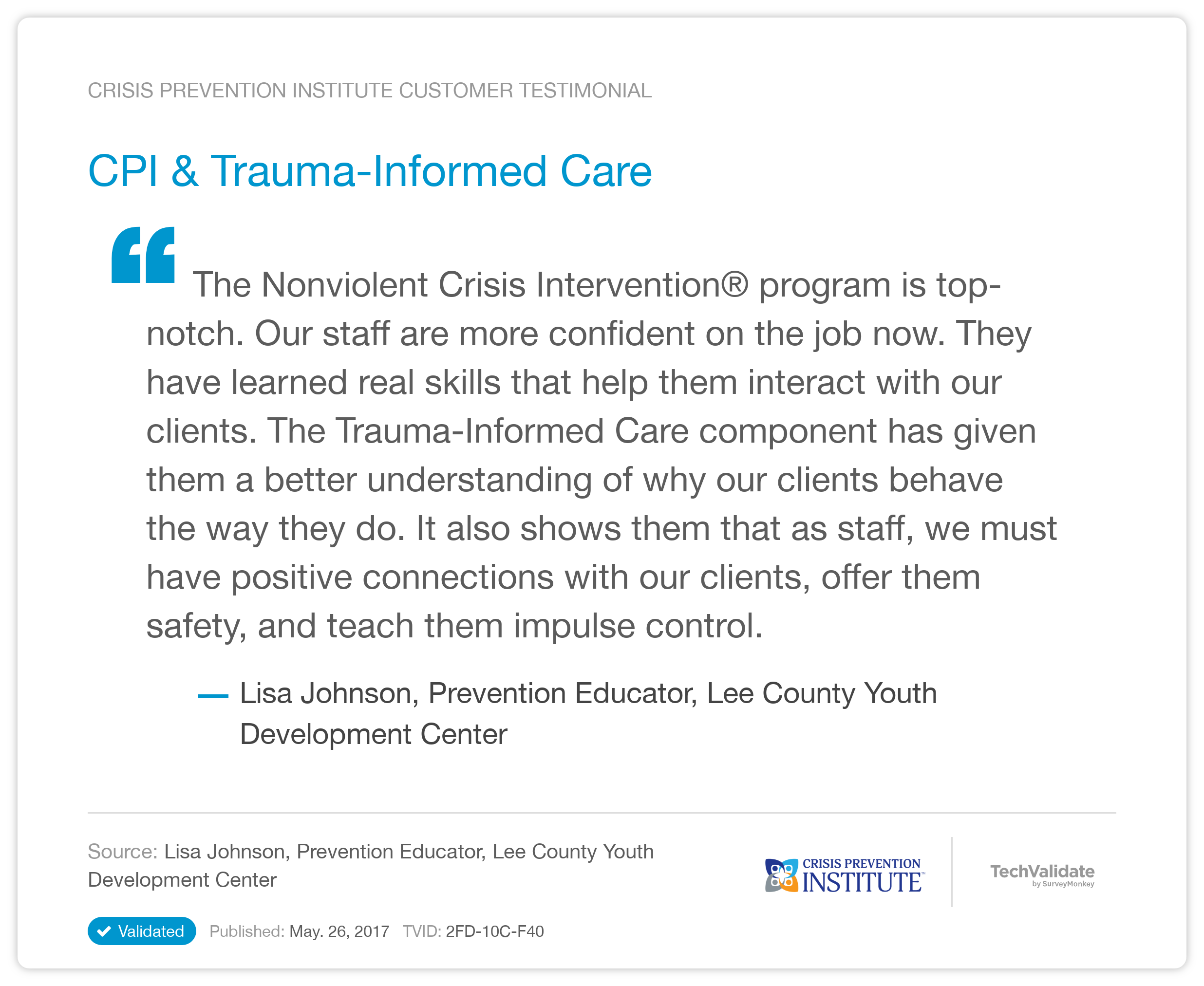 crisis prevention institute techfact  cpi  u0026 trauma