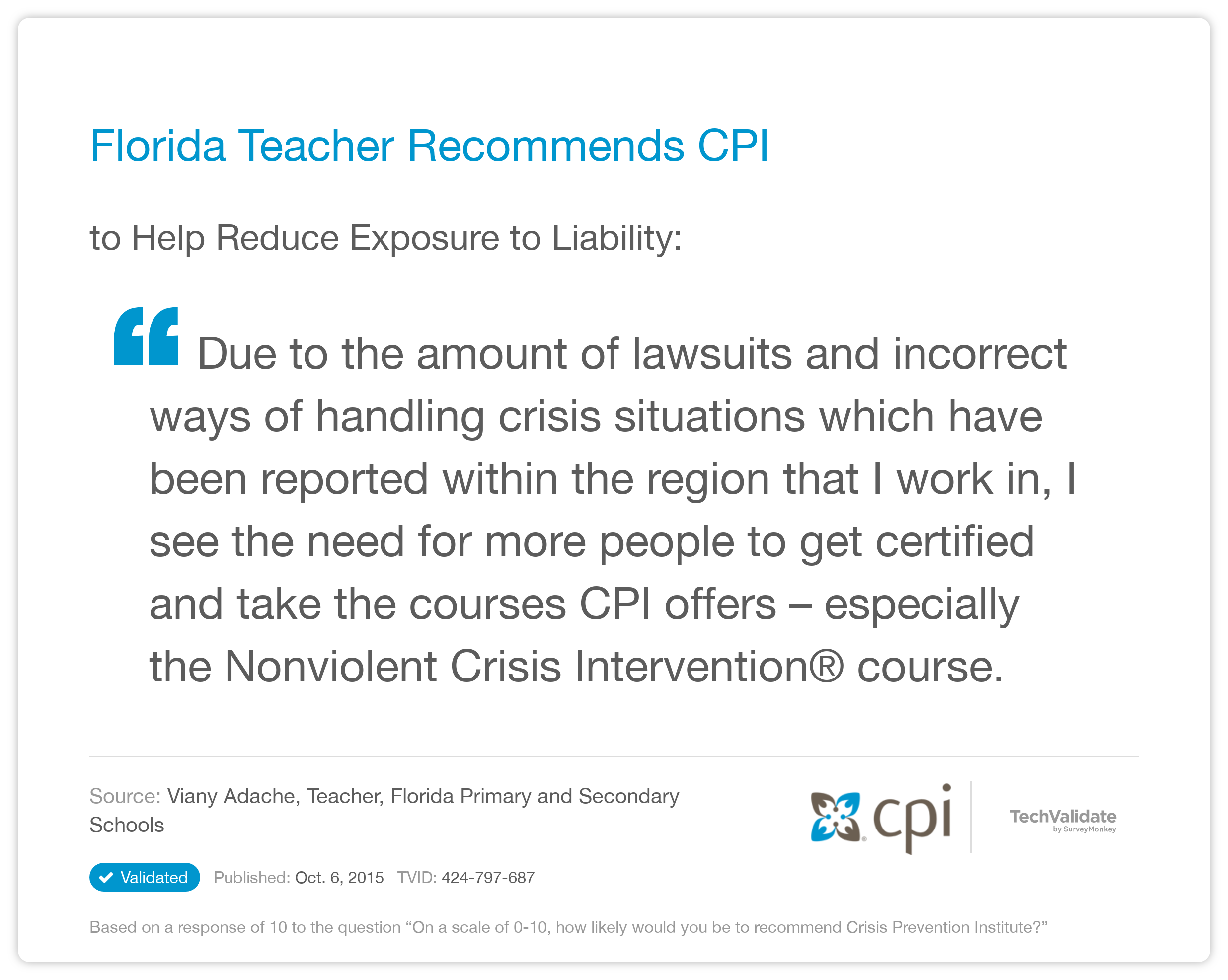Crisis Prevention Institute Techfact Florida Teacher Recommends Cpi