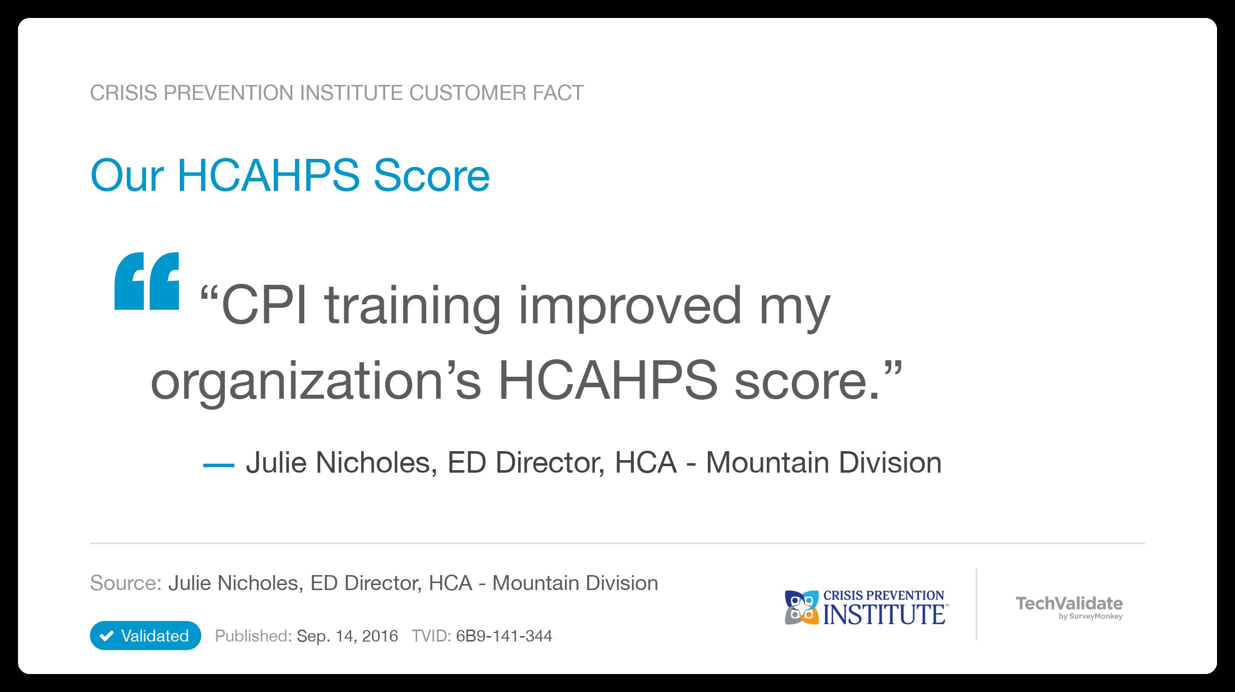 Crisis Prevention Institute TechFact: Our HCAHPS Score