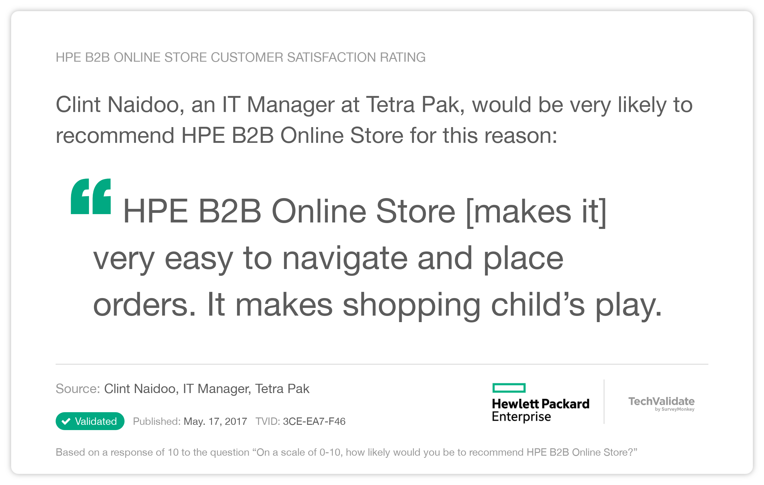 HPE TechFact: HPE B2B Online Store Customer Satisfaction