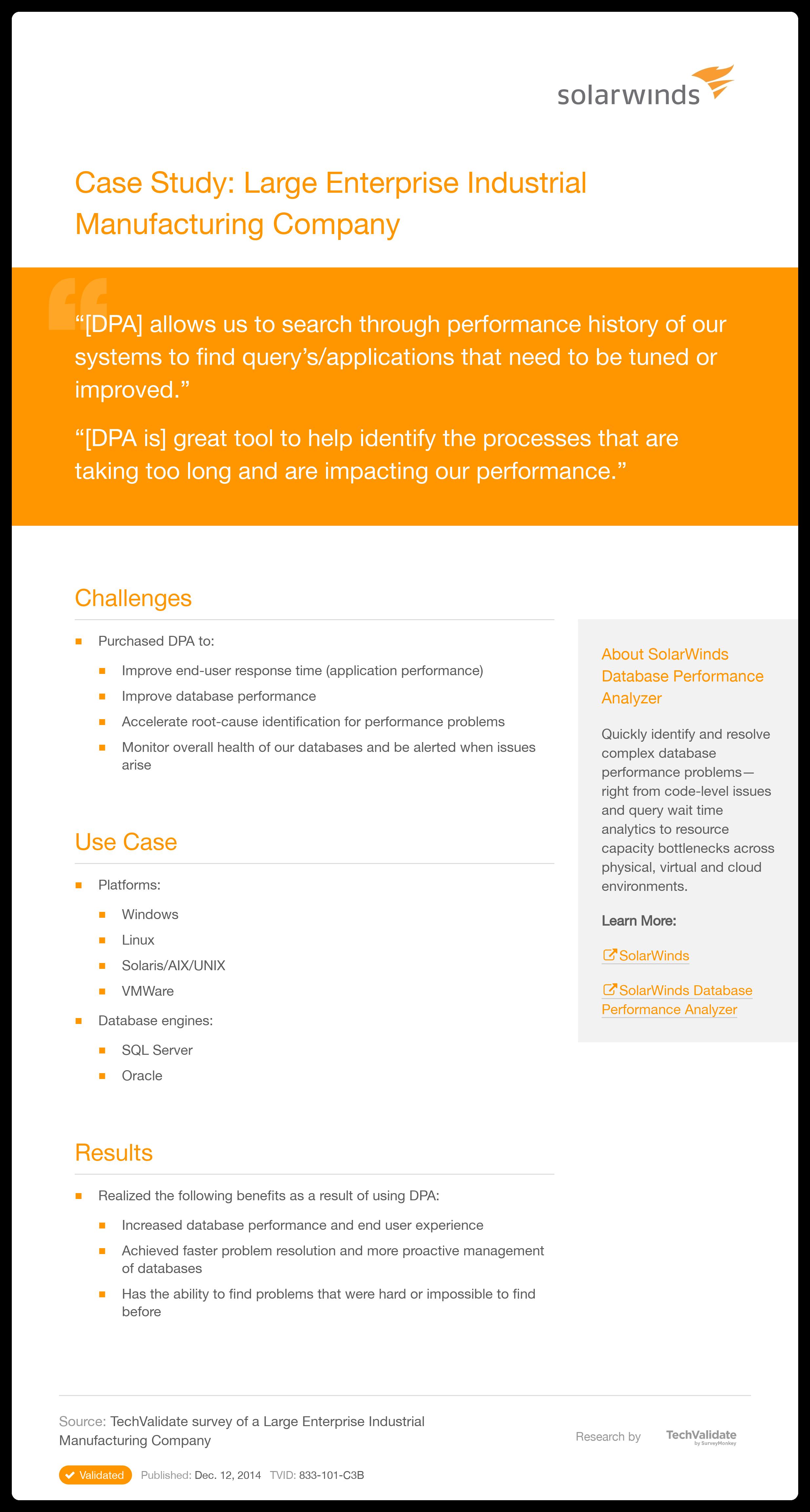 SolarWinds Database Performance Analyzer Case Study: Large