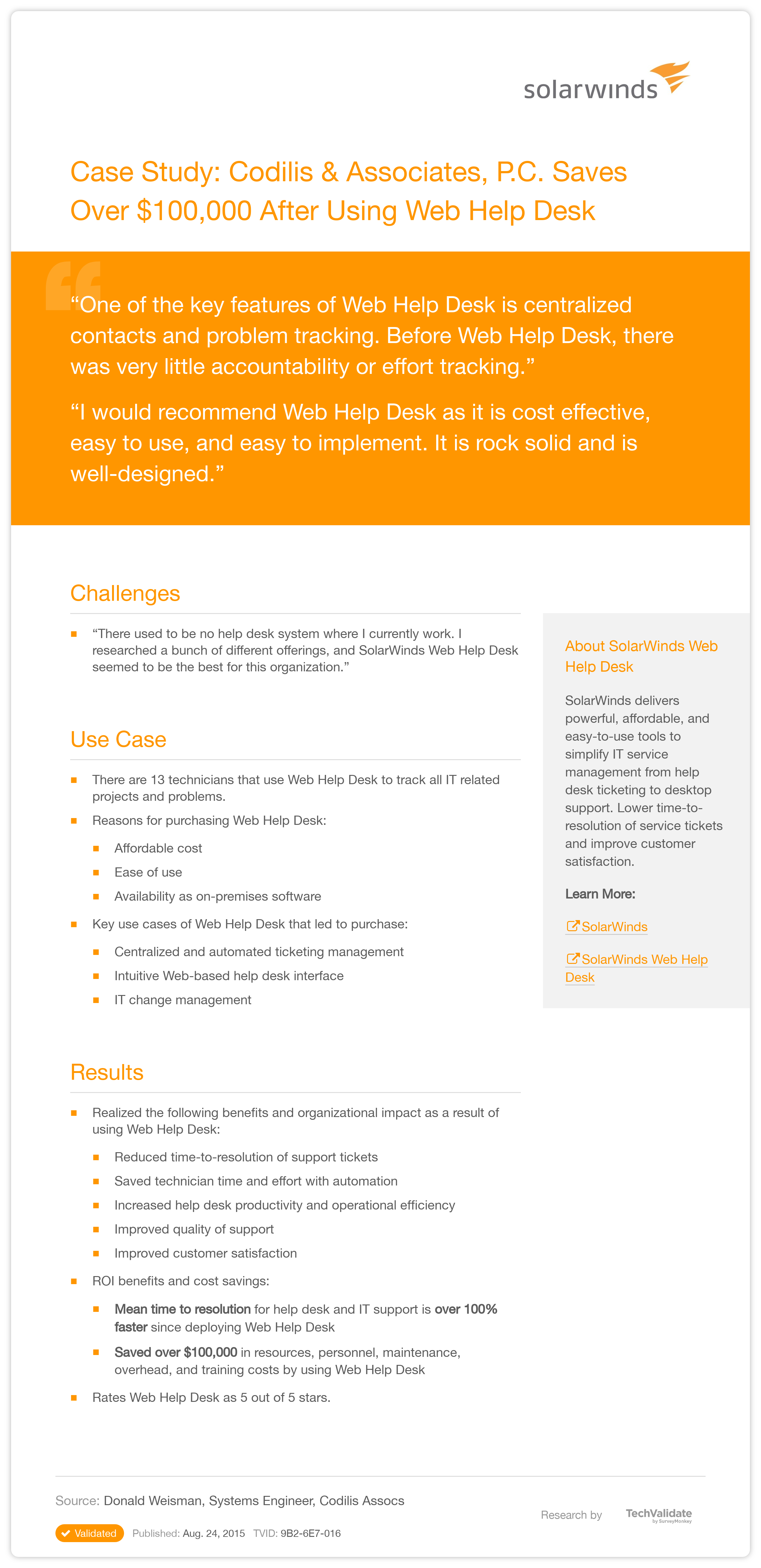 Solarwinds Help Desk And It Support Case Study Codilis Associates