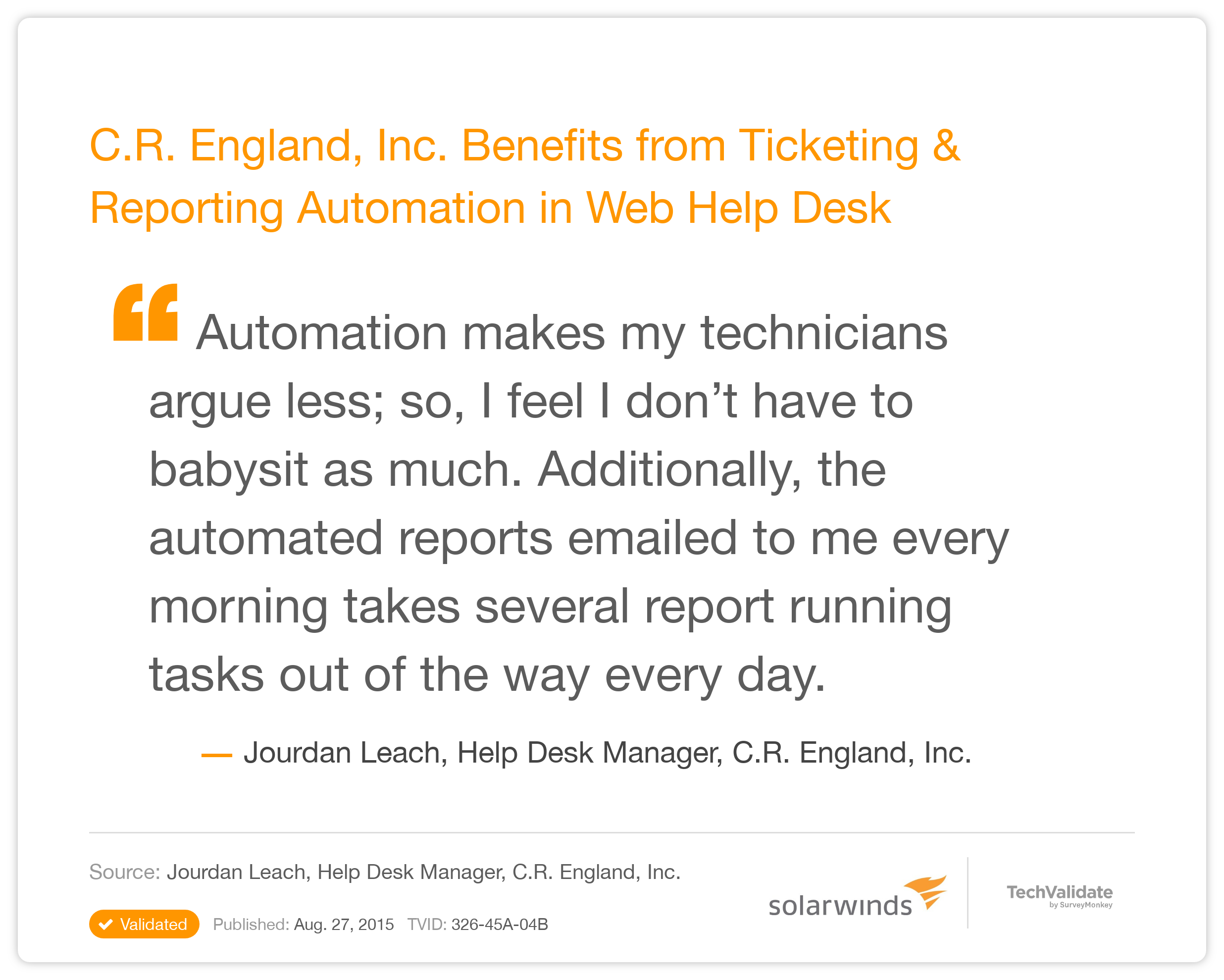SolarWinds Help Desk and IT Support TechFact C R England