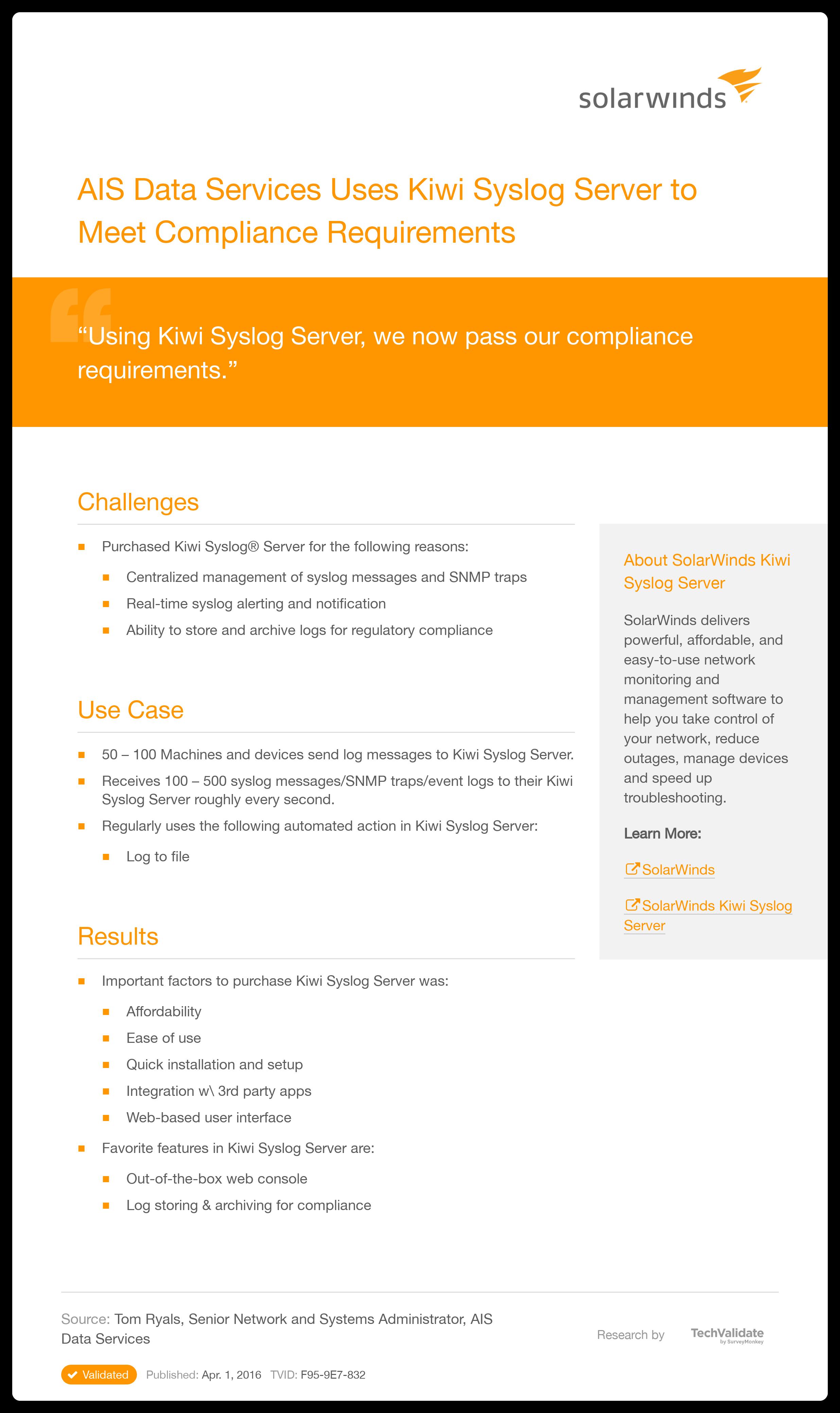 SolarWinds Network Management AIS Data Services Uses Kiwi