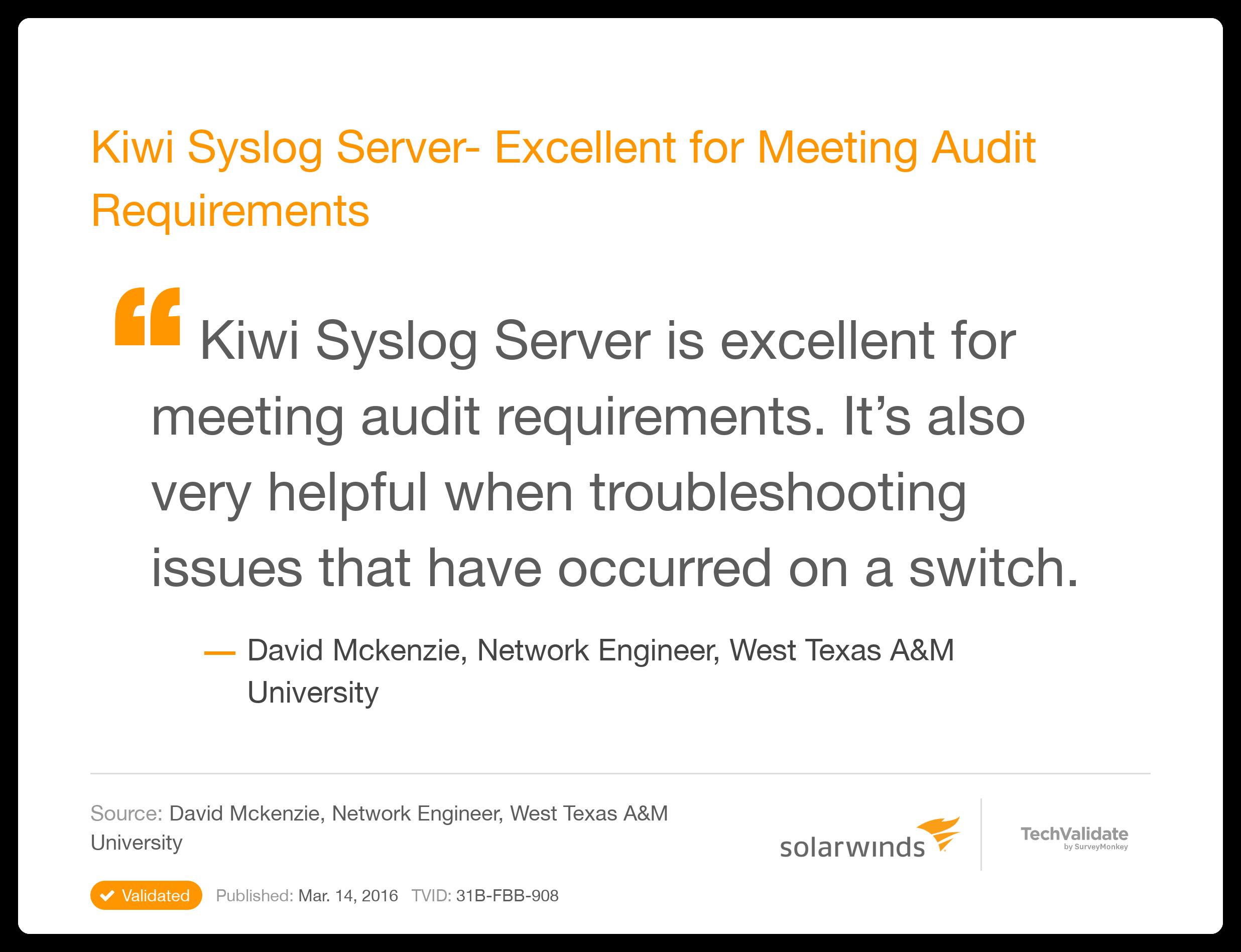 SolarWinds Network Management TechFact: Kiwi Syslog Server