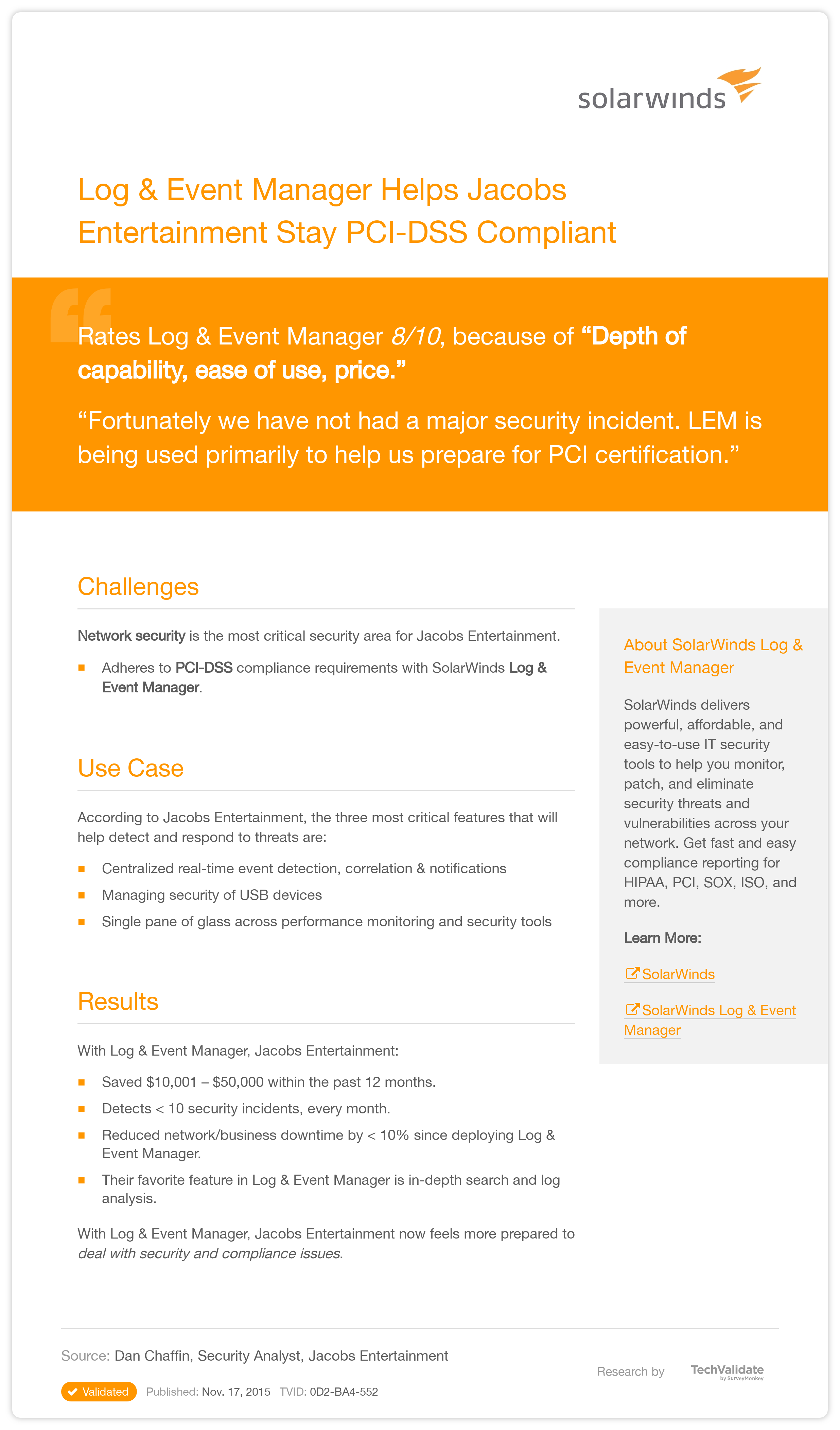 Solarwinds security log event manager helps jacobs entertainment solarwinds security log event manager helps jacobs entertainment stay pci dss compliant techvalidate xflitez Image collections