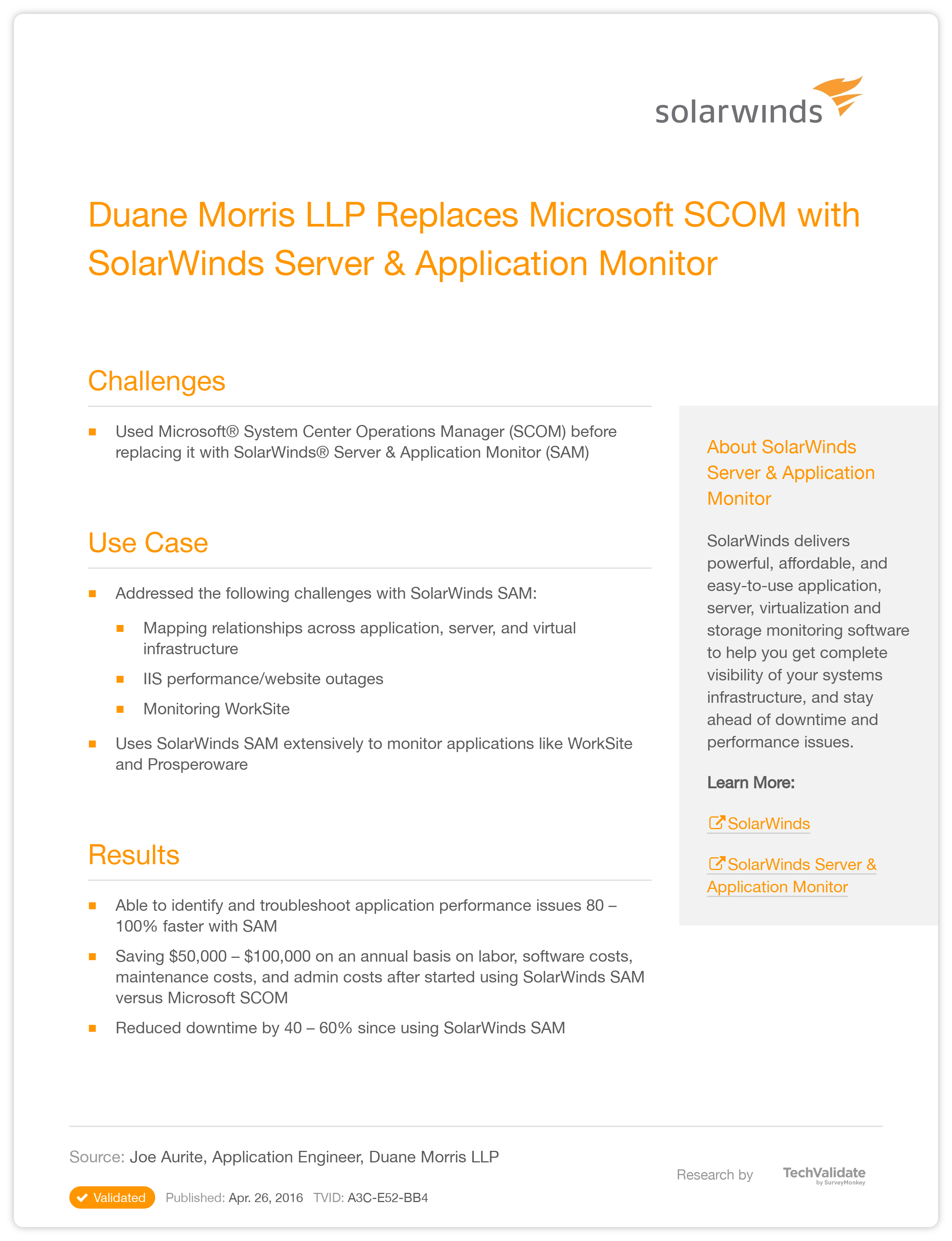 SolarWinds System Management Duane Morris LLP Replaces