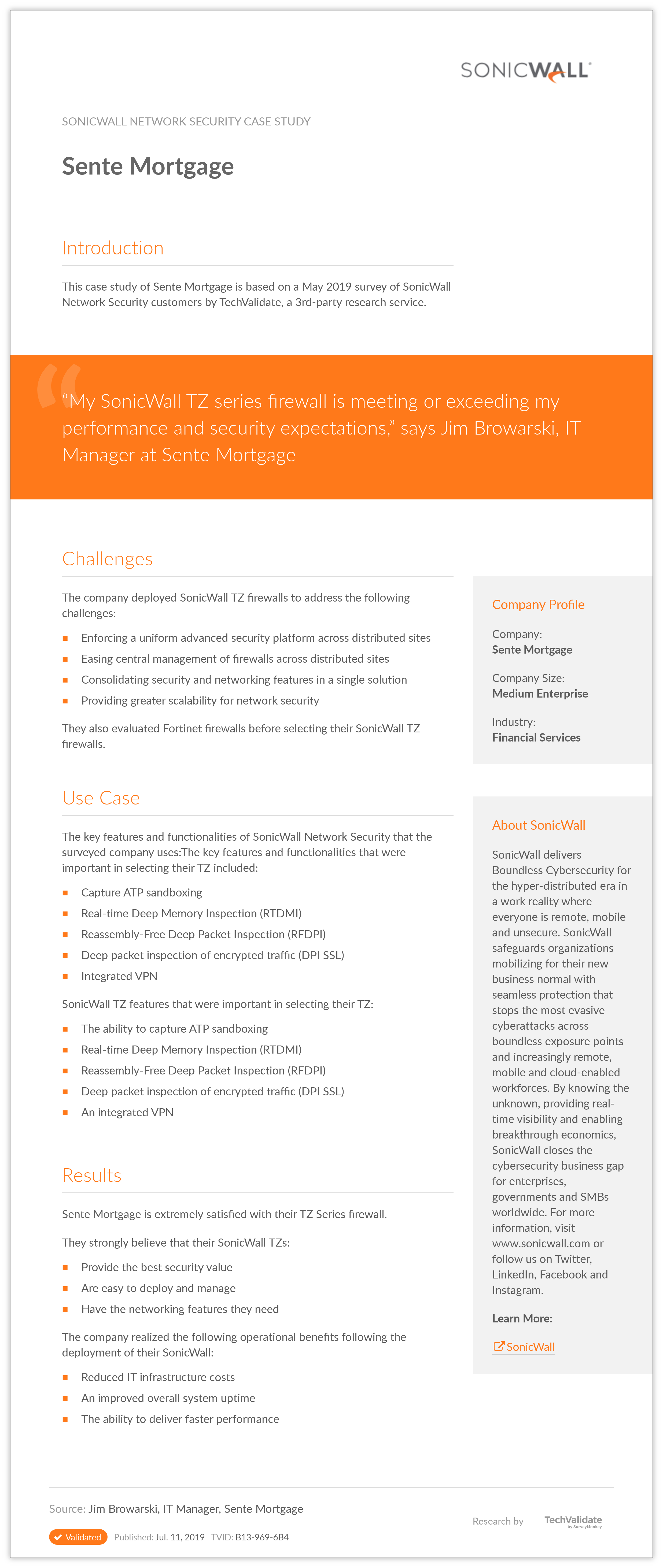 SonicWall Network Security Sente Mortgage | TechValidate