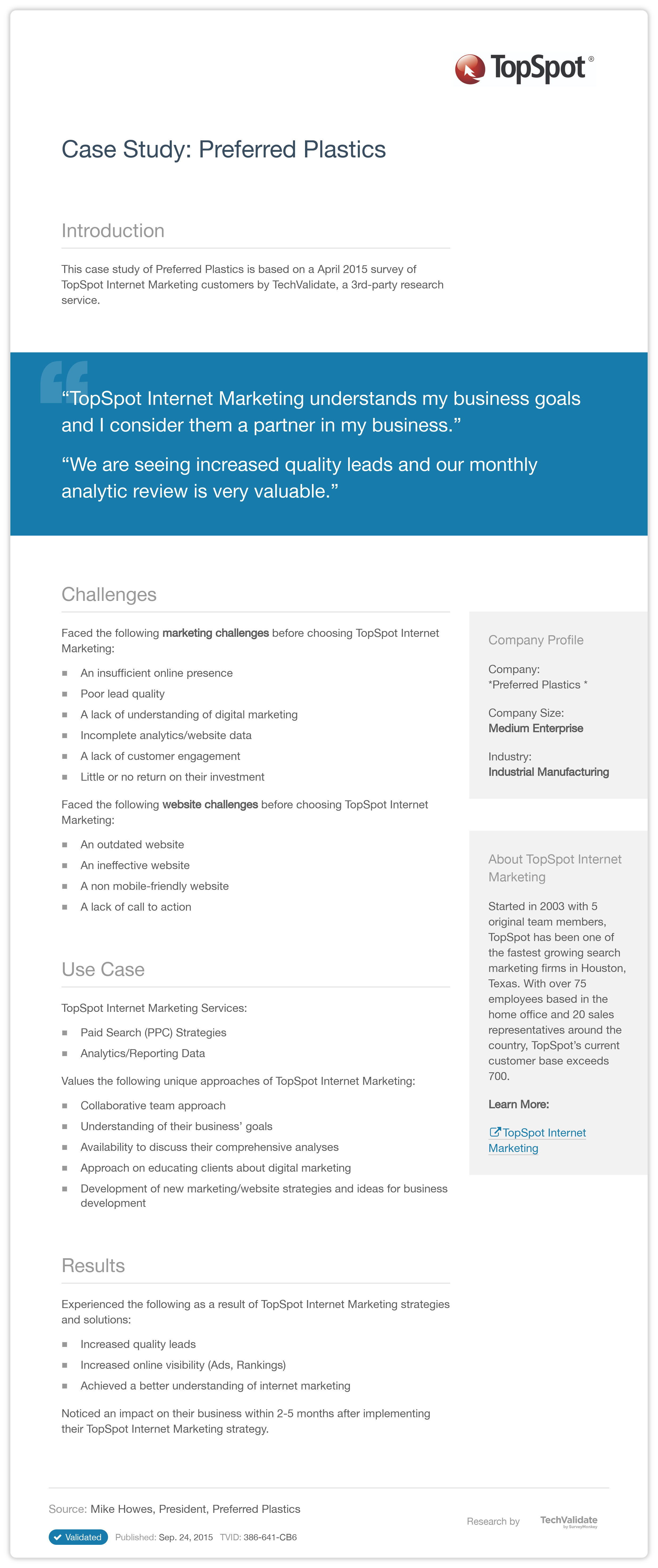 internet marketing customer case studies This case study reveals how a financial services organization used the visionedge marketing accelance® process to establish measurable objectives and budget to link.
