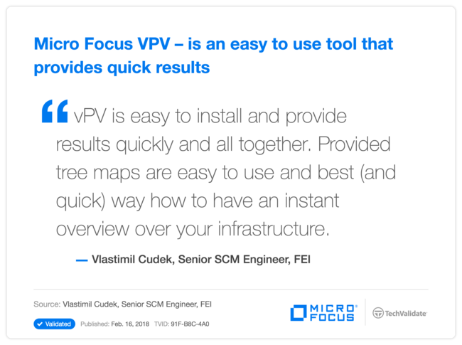 HPe VPV-is an easy to use tool that provides quick results
