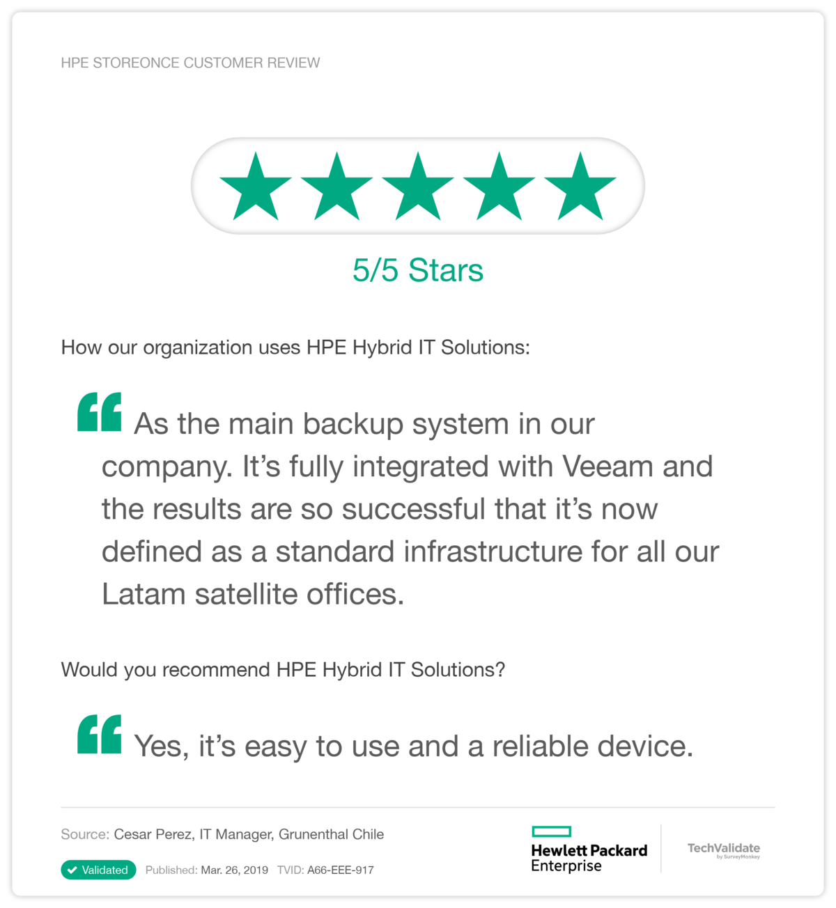 HPE StoreOnce Customer Review