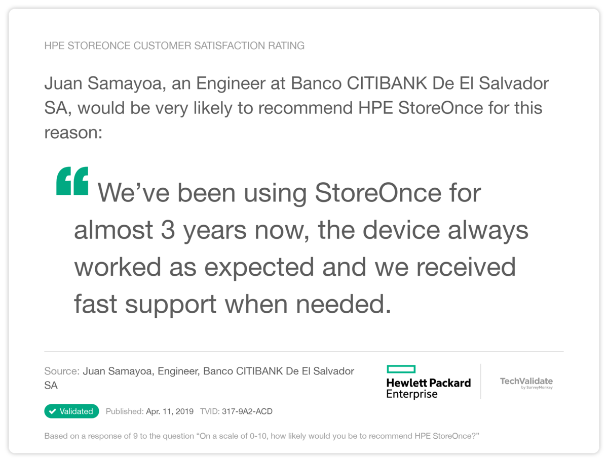 HPE StoreOnce Customer Satisfaction Rating