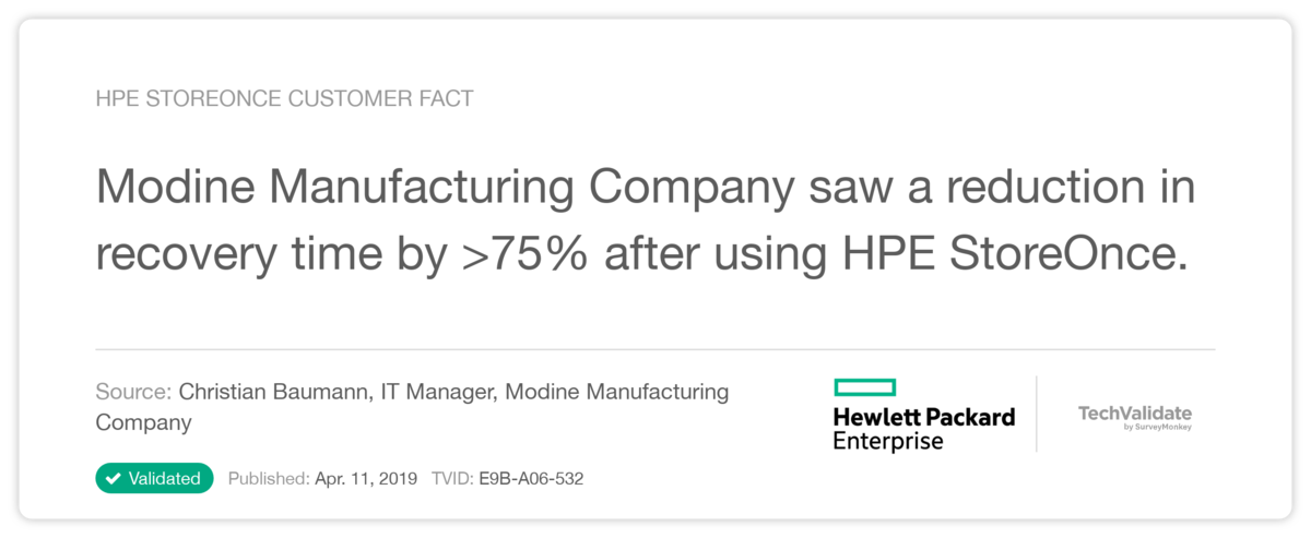 HPE StoreOnce Customer Fact