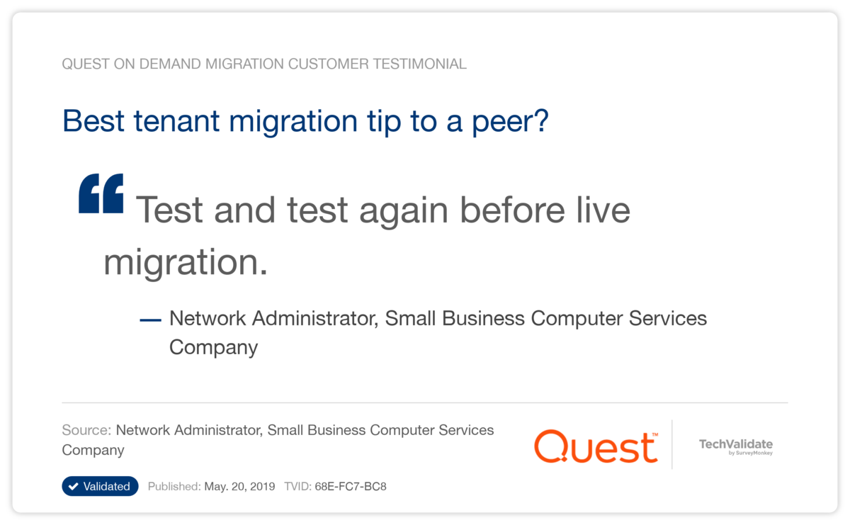 Best tenant migration tip to a peer?