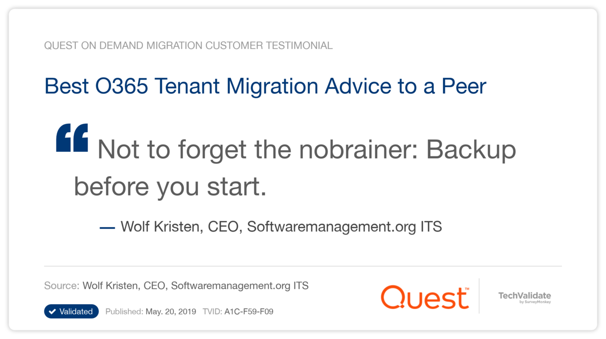 Best O365 Tenant Migration Advice to a Peer