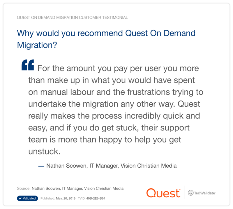 Why would you recommend Quest On Demand Migration?