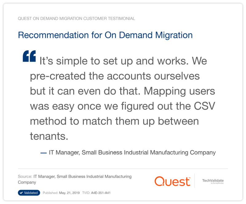 Recommendation for On Demand Migration