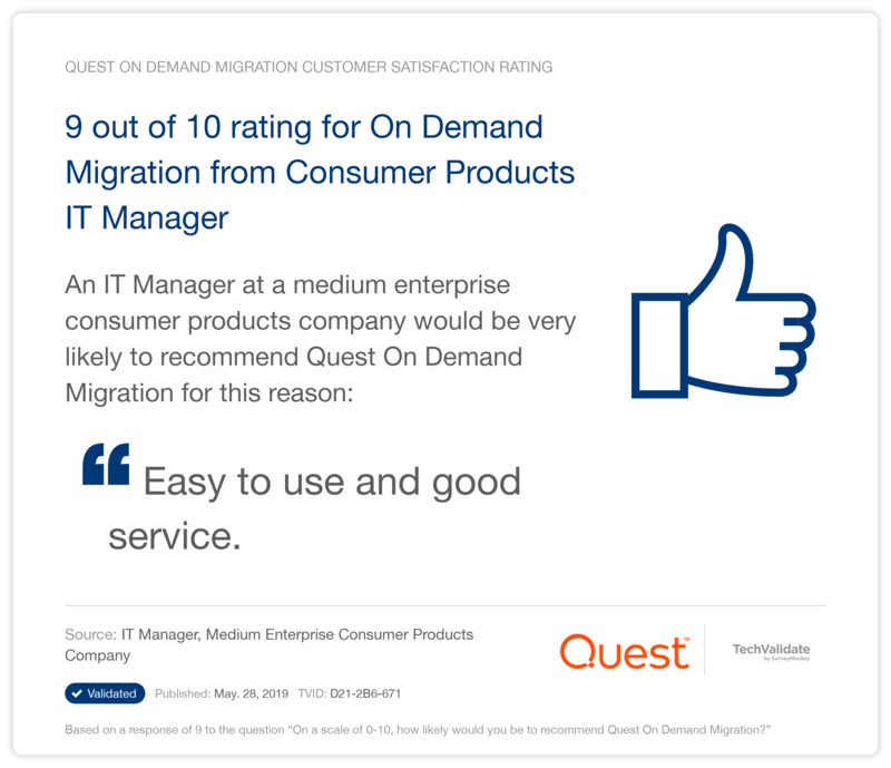 9 out of 10 rating for On Demand Migration from Consumer Products IT Manager