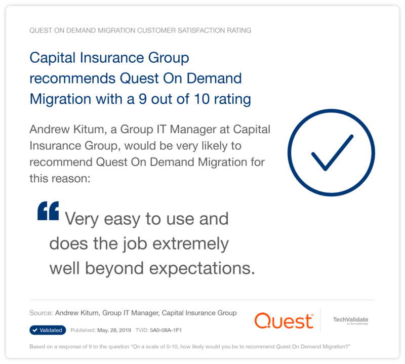 Capital Insurance Group recommends Quest On Demand Migration with a 9 out of 10 rating