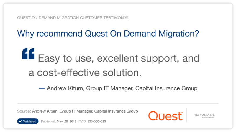 Why recommend Quest On Demand Migration?