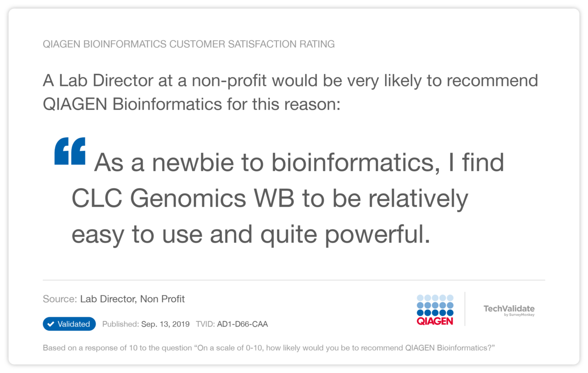 QIAGEN Bioinformatics Customer Satisfaction Rating