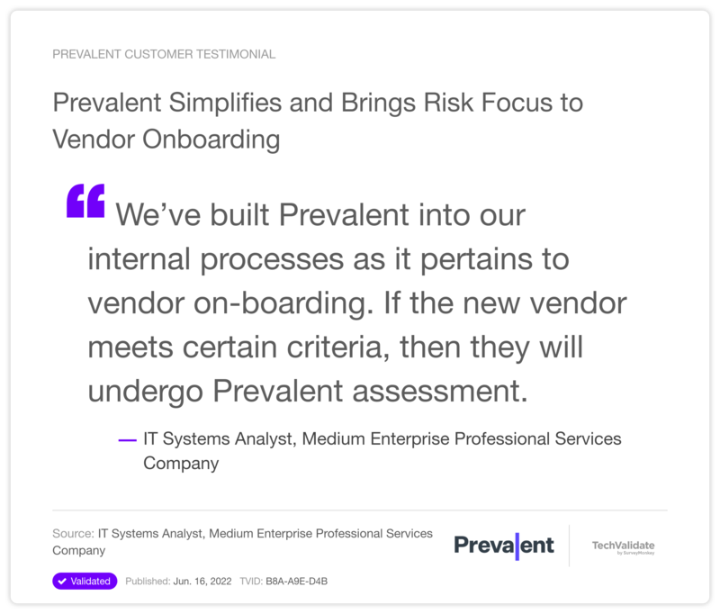 Prevalent Simplifies and Brings Risk Focus to Vendor Onboarding