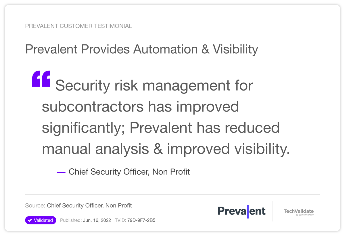 Prevalent Provides Automation & Visibility