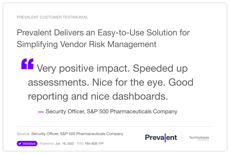 Prevalent Delivers an Easy-to-Use Solution for Simplifying Vendor Risk Management