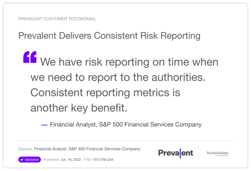 Prevalent Delivers Consistent Risk Reporting