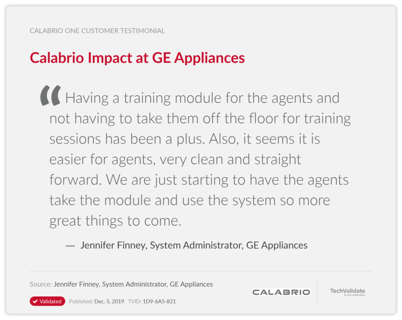 Calabrio Impact at GE Appliances
