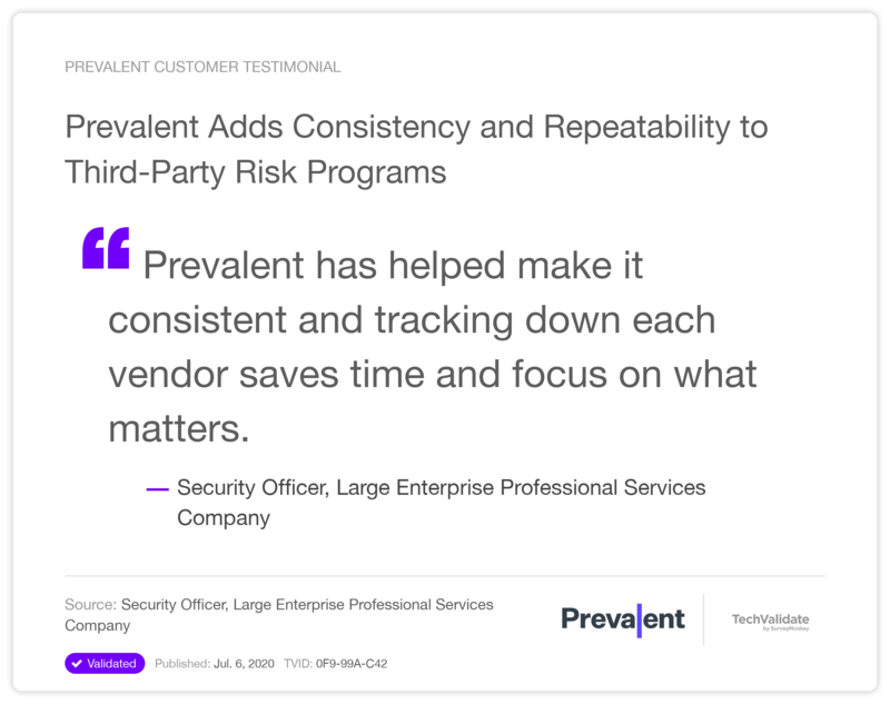 Prevalent Adds Consistency and Repeatability to Third-Party Risk Programs