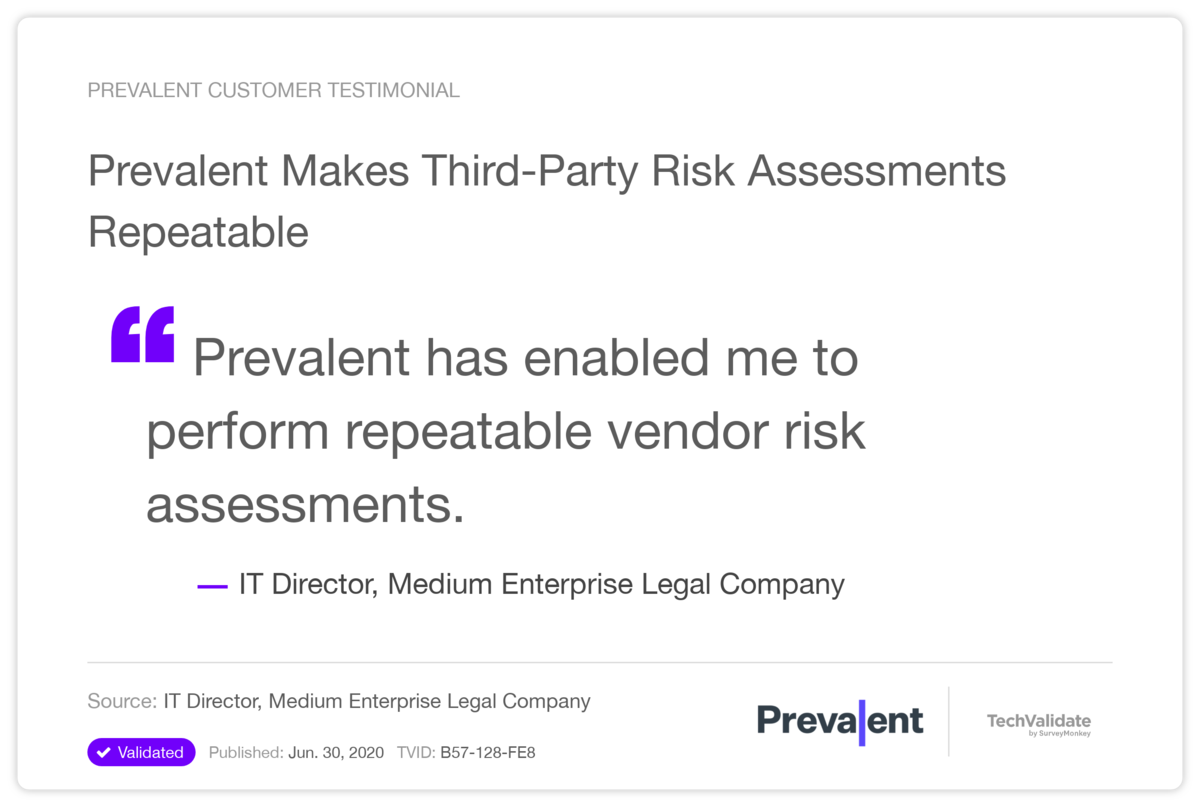 Prevalent Makes Third-Party Risk Assessments Repeatable