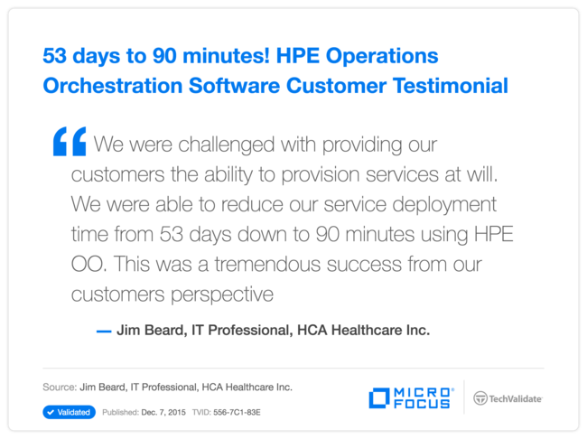 53 days to 90 minutes! HPE Operations Orchestration Software Customer Testimonial