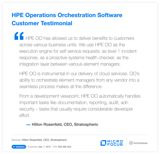 HPE Operations Orchestration Software Customer Testimonial