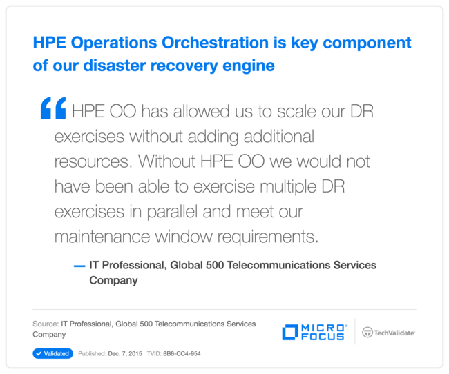 HPE Operations Orchestration is key component of our disaster recovery engine