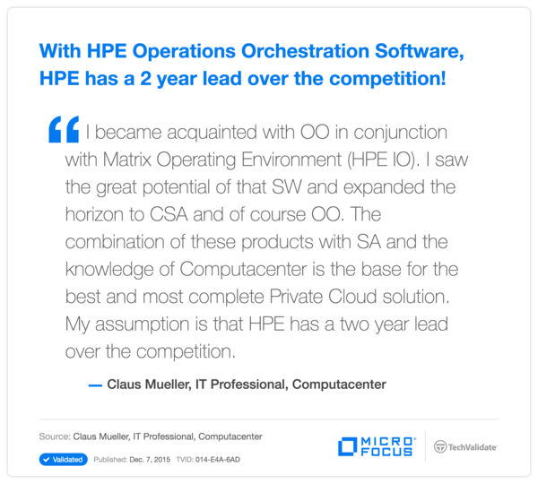 With HPE Operations Orchestration Software, HPE has a 2 year lead over the competition!
