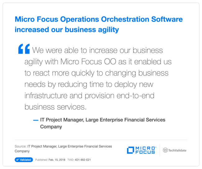 HPE Operations Orchestration Software increased our business agility